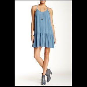 Lush - Drop Waist Crochet Light Blue Dress